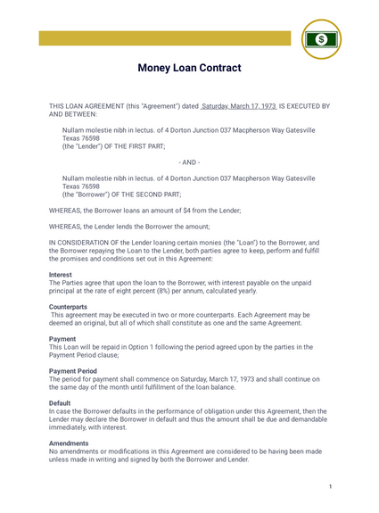 Money Loan Contract Pdf Templates Jotform