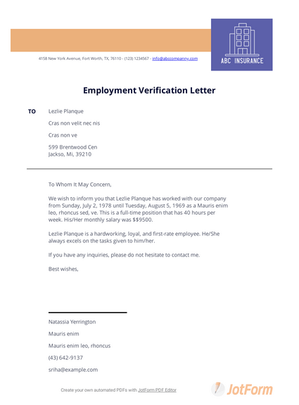 Previous Employment Verification Letter