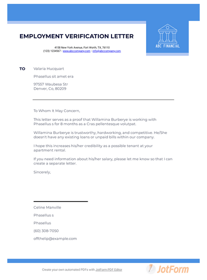 Employment Verification Letter for Apartment Rental
