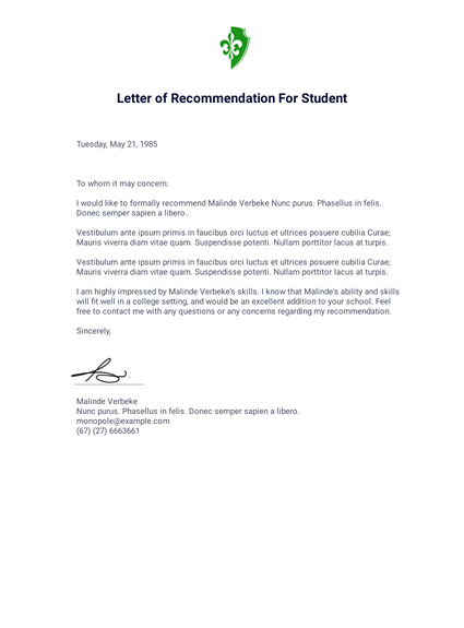Letter Of Recommendation For Student Pdf Templates Jotform