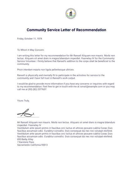 Example Letter For Community Service Hours.Community Service Letter Of Recommendation Pdf Templates