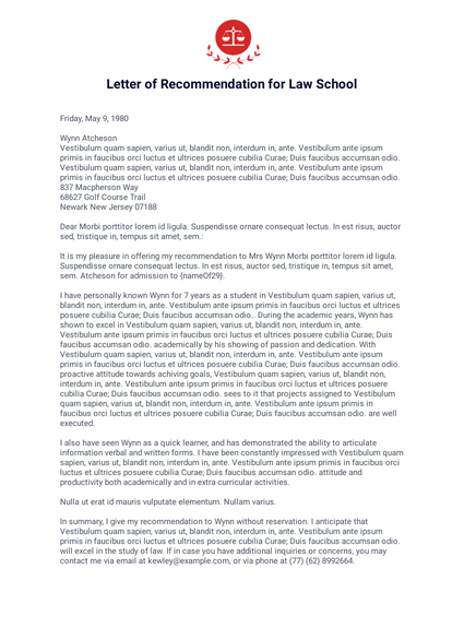 Letter of Recommendation for Law School