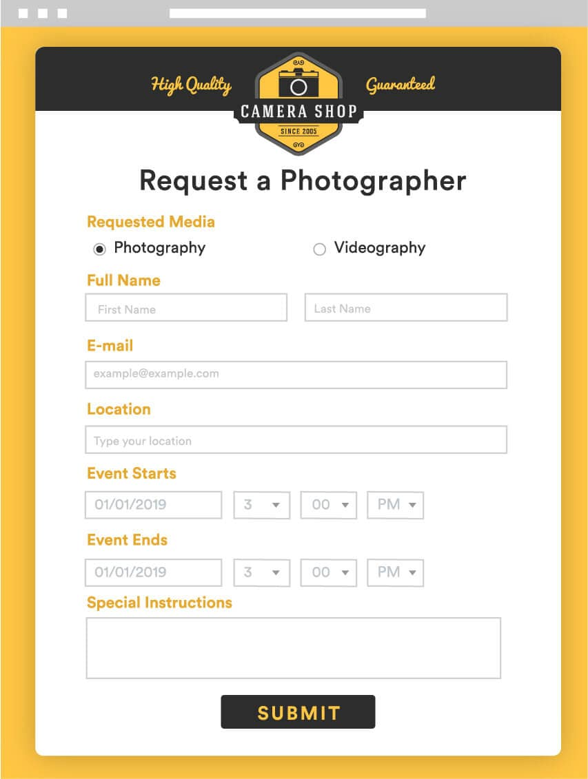 request a photographer form